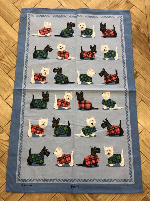 Samuel Lamont Scottie & Westie Dogs Tea Towel - 100% Cotton